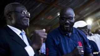 Winston Tubman (l) and George Weah (r)