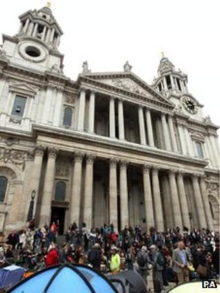 Protesters outside St Paul's Cathedral