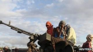 Al-Shabab fighters pictured in Mogadishu, October 2011