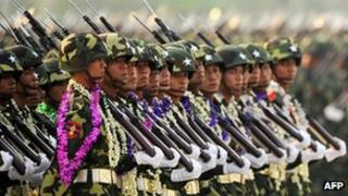 Myanmar (Burmese) soldiers take part in a military parade