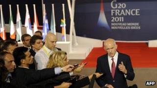 Greek Prime Minister George Papandreou speaking to journalists, 2 Nov 11