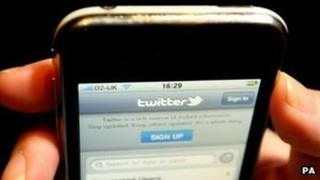 Twitter page on mobile phone