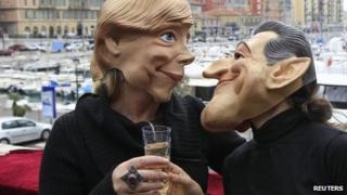Germany's chancellor, Angela Merkel, and France's president, Nicolas Sarkozy