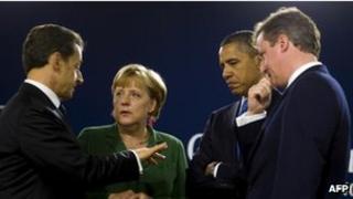 Nicolas Sarkozy, Angela Merkel, Barack Obama and David Cameron