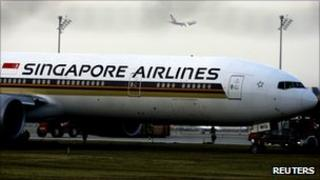 Singapore Airlines jet after incident at Munich Airport