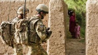 Soldiers patrolling in Afghanistan