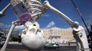 Skeleton and Greek parliament