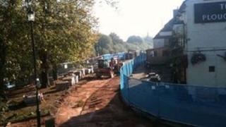 Flood defences being built in Upton upon Severn