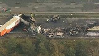 Scene of M5 crash in Somerset