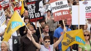 Public sector workers take part in a march through central London on June 30, 2011 in London