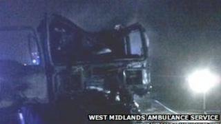The lorry cab on the M6. Photo: West Midlands Ambulance Service