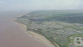 An aerial shot of caravans along the Lincolnshire coast