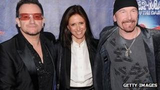 Julie Taymor (centre) with U2's Bono and the Edge