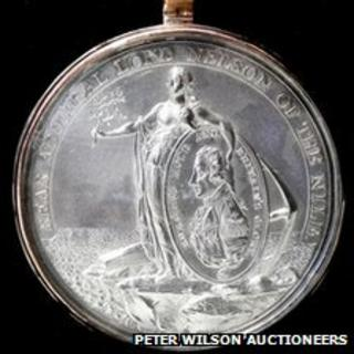 The officer class Davison's Nile Medal which belonged to Thomas Atkinson, master of Admiral Lord Nelson's flagship HMS Victory.
