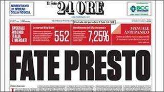"""Italian newspaper 24 Ore showing the headline, """"Fate Presto"""""""