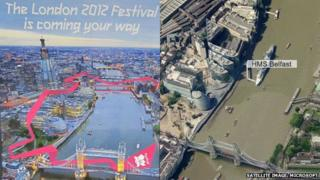 Composite image of poster and satellite image showing HMS Belfast