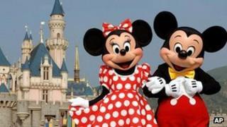 Disney characters at Hong Kong Disneyland