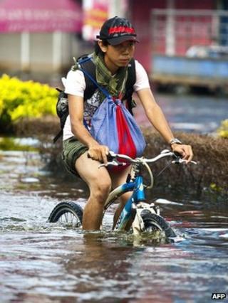 Cyclist in flood