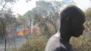 A fire at Yida camp after it was bombed on 10 November