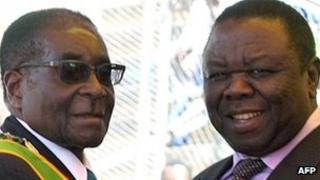Robert Mugabe (l) and Morgan Tsvangirai (r)