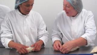 Agustina Soto (left) learns how to hand crimp at Crantock Bakery Pic: Barefoot Media