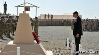 Defence Secretary Philip Hammond at an Armistice Day ceremony with UK troops in Afghanistan