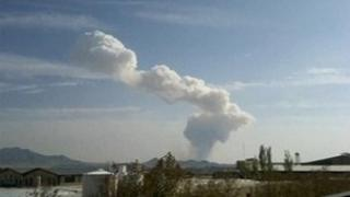 Plume of smoke after the explosion