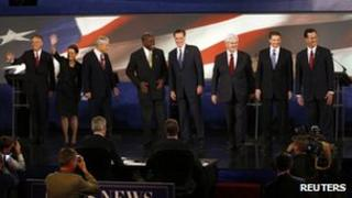 Republican presidential candidates take the stage during a South Carolina Republican party presidential debate on 12 November 2011.