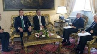Italian Giorgio Napolitano (second left) hold talks with Northern League leader Umberto Bossi (centre) at the Quirinale Palace in Rome - 13 November