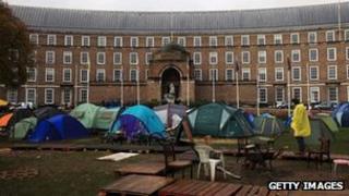 Occupy Bristol protest on College Green