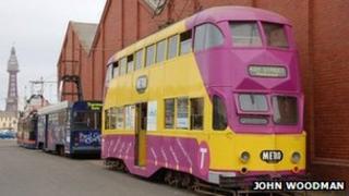 Tram display line-up headed by a 1935 'Balloon' tram built in Preston.