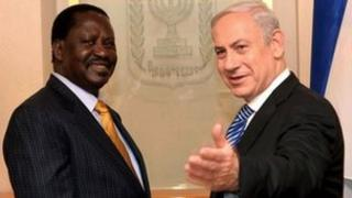 Raila Odinga (l) and Benjamin Netanyahu on 14 November