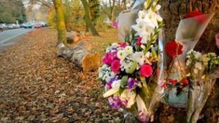 Flowers left for Caroline Elliott
