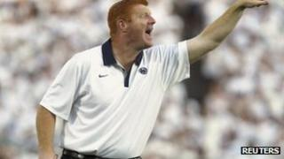 Mike McQueary shouts to football players 11 September 2011