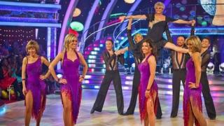 Angela Rippon and some of the BBC's female newsreaders perform a Strictly Come Dancing routine for Children In Need