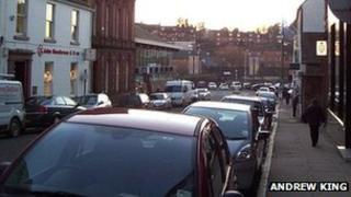 Cars parked in Dumfries