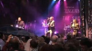 Heaven 17 on stage during Tramlines