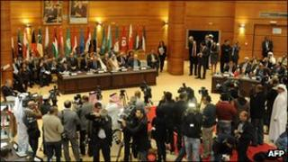 Delegates during a meeting comprising of Arab league Member states and Turkey
