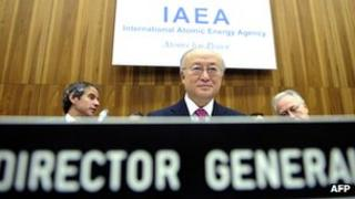 IAEA Director-General Yukiya Amano (C) at the board of governors conference at the agency headquarters in Vienna