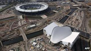 Olympic stadium and velodrome aerial view