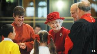 Queen and Duke of Edinburgh at Guildford Cathedral