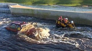 Lifeboat training at the Tees Barrage