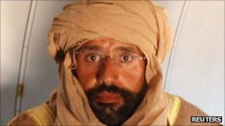 Saif al-IslamGaddafi on the plane after his capture