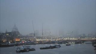 Heavy fog in central London