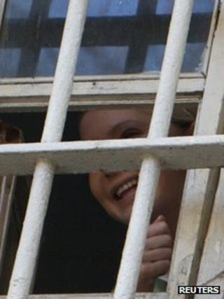 Yulia Tymoshenko seen through the bars of her prison cell (4 Nov 2011)