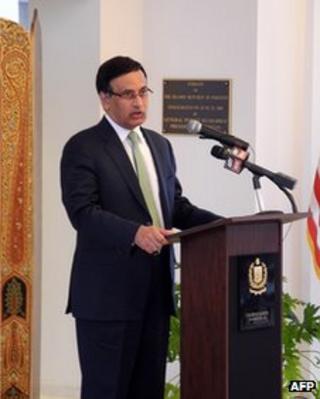 Pakistan's ambassador to the US Husain Haqqani, at the embassy in Washington (file photo March 2011)