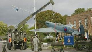 The replica spitfire outside RAF Benson