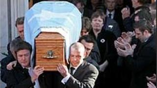 The funeral of Shane Geoghegan in Limerick on 12 November 2008