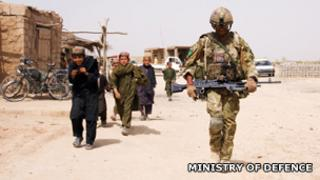 A UK soldier on patrol in Afghanistan. Photo: Ministry of Defence