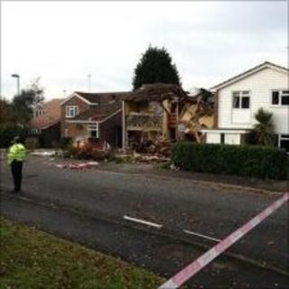 Damage to the property on Sutherland Chase following the explosion. Picture taken by Murray Barter.
